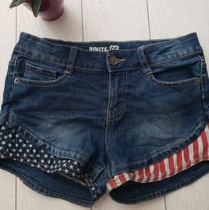 Route 66 American flag shorts